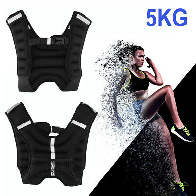 Weighted Vest Jacket 5KG Training Body Fitness Gym Exercise Running Waistcoat UK