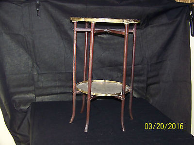 Chinese Qing Dy Hand Carved Brass Side Table Hard Wood Legs