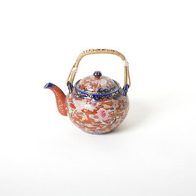 Chinese Japanese Red Blue Teapot Bamboo Handle Pottery Vintage Porcelain Asian