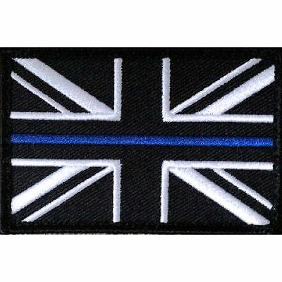 Thin Blue Line - Police - Union Flag Iron On Patch + Hook and Loop Backing NEW
