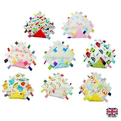 Soft Bubble Comforter Taggie Taggy Security Blanket Baby Gift Shower 35x35cm