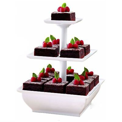3 Tier White Cake Stand Plastic Cupcake Wedding Party Display Dessert Stand