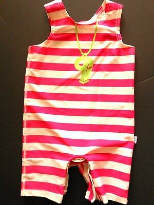 I Play girl 12 mo onepiece swimsuit,pink,white stripe,snap crotch mid length
