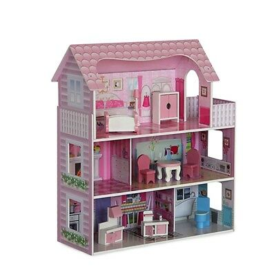 Pink 3 Level Wooden Doll House