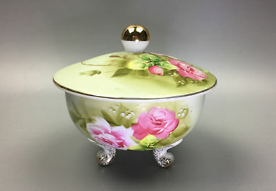 Lefton Lefton Hand Painted Green Rose Footed Covered Candy Dish