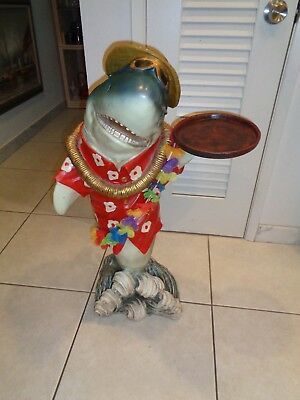 Vintage Rare Shark With Tray Butler Statue (35 inches Tall)