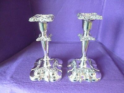 To Clear - A Matching Pair Of Elegant Vintage Silver Plated Candlestick