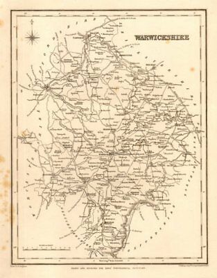 Antique county map of WARWICKSHIRE by Starling & Creighton for Lewis c1840
