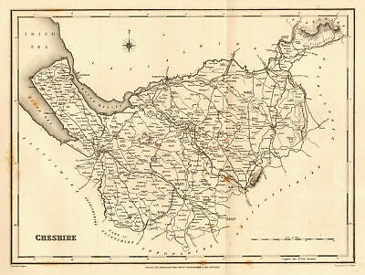 Antique county map of CHESHIRE by Walker & Creighton for Lewis c1840 old