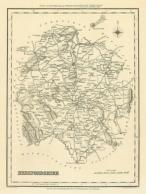 Antique county map of HEREFORDSHIRE by Starling & Creighton for Lewis c1840