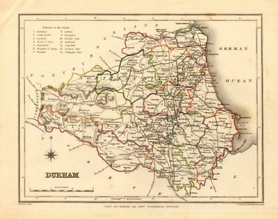 Antique county map of DURHAM by Creighton & Starling for Lewis c1840 old