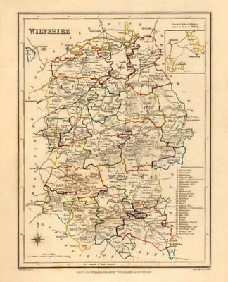 Antique county map of WILTSHIRE by Creighton & Walker for Lewis c1840 old