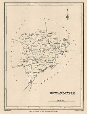 Antique county map of RUTLANDSHIRE by Walker & Creighton for Lewis c1840