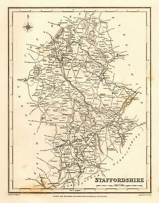 Antique county map of STAFFORDSHIRE by Walker & Creighton for Lewis c1840