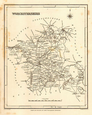 Antique county map of WORCESTERSHIRE by Starling & Creighton for Lewis c1840