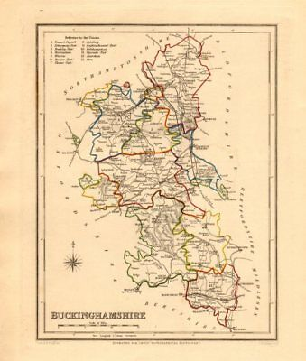 Antique county map of BUCKINGHAMSHIRE by Creighton & Walker for Lewis c1840