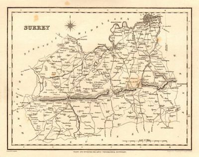 Antique county map of SURREY by Starling & Creighton for Lewis c1840 old