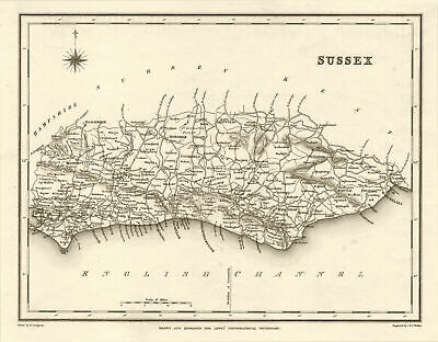Antique county map of SUSSEX by Walker & Creighton for Lewis c1840 old