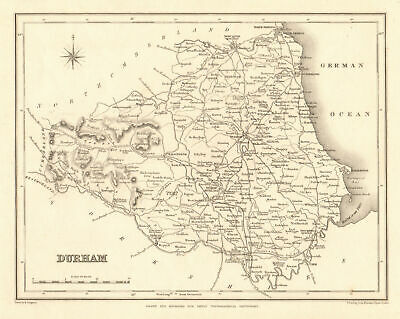 Antique county map of DURHAM by Starling & Creighton for Lewis c1840 old