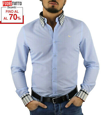 Camicia uomo cotone bianco nero celeste blu button down regular fit M L XL XXL