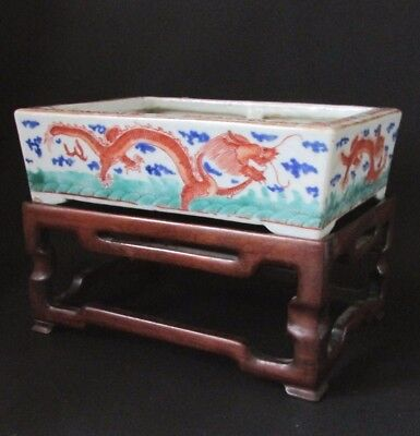 Fine Antique Signed Asian Chinese Porcelain Wu Cai Dragons Planter & Stand 19C