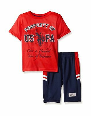 U.S. Polo Assn. Baby Boys' T-Shirt and Mesh Athletic Short Set Engine Red