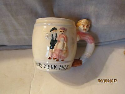 Vintage 1950 Always Drink Milk Cup by Chase Hand Painted Japan