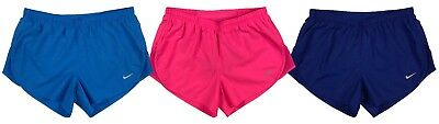 """Nike Womens Dri-Fit 3"""" Embossed Tempo Running Shorts w/Brief Liner Blue/Pink New"""