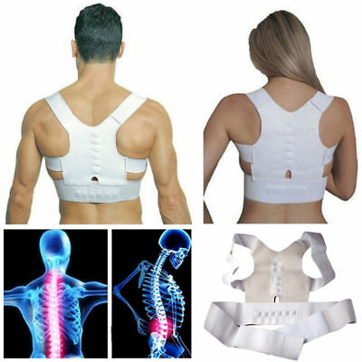 Back Shoulder Support Power Magnetic Posture Corrector Vest Unisex Adjustable UK