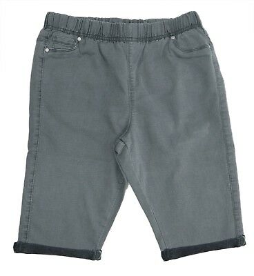 Womens New Size 16 - 30 Grey Knee Length Turn Up Shorts Ladies Plus Size LICK