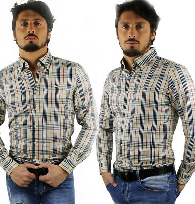 Camicia uomo cotone a quadri M L XL XXL 3XL regular fit button down casual