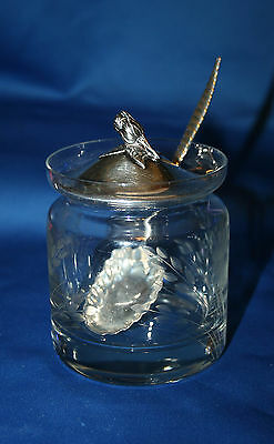 Frank M Whiting Crystal and Sterling Silver Mustard Jar w Spoon Rose Finial