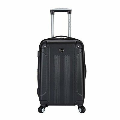 """Travelers Club Luggage Chicago 20"""" Expandable Spinner Hardside Carry-On Black"""