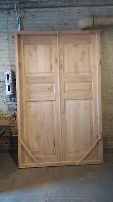"BEAUTIFUL Solid Pine Wood Front Double Doors 8'4"" x 5'4"""