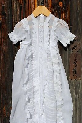 Antique French Fine Christening Gown Broderie Anglaise Beautiful But Fragile