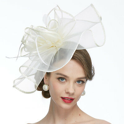 Flower Feather Large Net Fascinator Hat Birdcage Veils Wedding Race With Clip