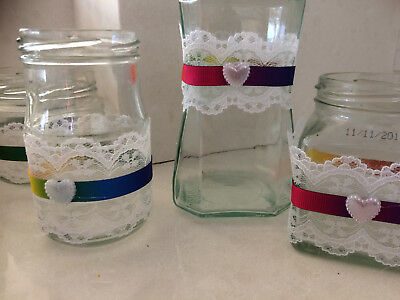20 SHABBY CHIC LACE,  Rainbow wedding  DECORATED JARS - WEDDING - PARTY
