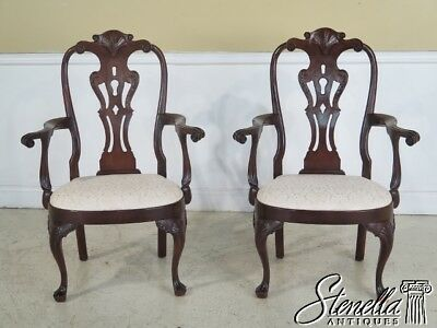 L41290: Pair HENREDON Mahogany Philadelphia Style Queen Anne Arm Chairs