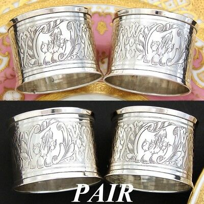 PAIR (2): Lovely Antique French Sterling Silver Napkin Ring, His & Her Monograms