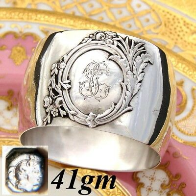 """Antique French Sterling Silver Napkin Ring, Unique Rounded Shape, """"GC"""" Monogram"""