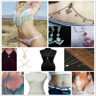 Sexy Bikini Crossover Body Chain Coin Pendant Waist Belt Belly Chain Necklace
