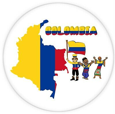 Colombia, South America - Round Souvenir Fridge Magnet - Map / Flag / Gifts