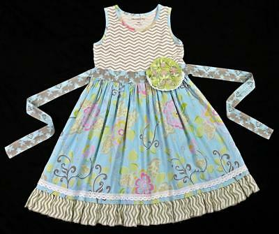 MUSTARD PIE Girls CLOVER Floral Ruffle Lace Tank Dress Spa Blue ~ 6X EEUC kg