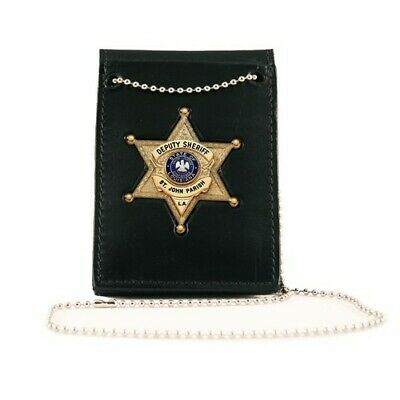 Boston Leather 4050-1 Value Badge Holder with Neck Chain