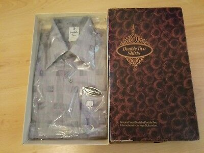 """Vintage Boxed Double Two,14.5"""" Checked Shirt, Single Cuff with Button/Cuff Links"""