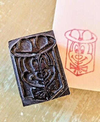 Vintage Letterpress Printing Printer's Block Mickey Mouse (?) Antique - Stamp