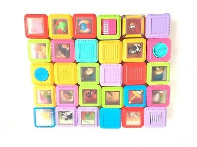 Fisher Price Peek A Boo Blocks Letters Numbers Animals Food Interactive 30