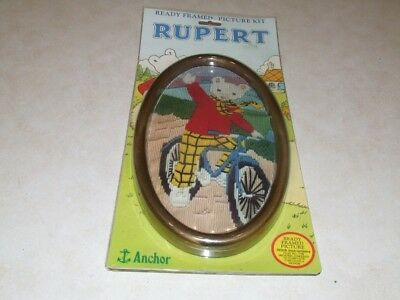 Rupert Long Stitch Kit - Ready Framed Picture Kit - Rupert Cycling - New
