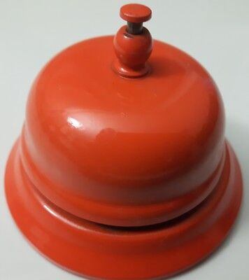 Orange Vintage Lobby Desk Bell *Works Great!*