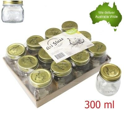 Glass Jam Jar Gold Top Lid 300ml Storage Candy Jars Wedding Party Food Kitchen
